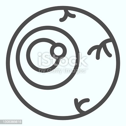 istock Zombie eye line icon. Celebration party joke, horror eyeball with blood threads. Halloween vector design concept, outline style pictogram on white background, use for web and app. Eps 10. 1205385615