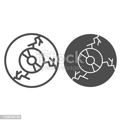 istock Zombie eyeball line and solid icon. Monster or human eye. Halloween party vector design concept, outline style pictogram on white background. 1209294150