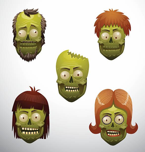 ilustraciones, imágenes clip art, dibujos animados e iconos de stock de cara de zombie - ironía