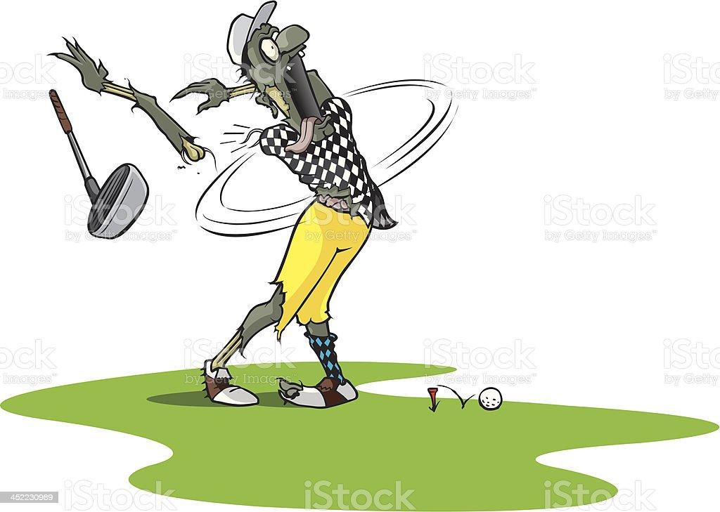 Zombie Golfer vector art illustration