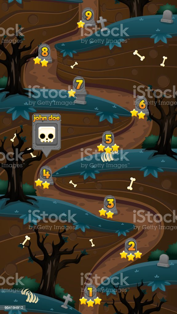 Zombie Graveyard Game Level Map Stock Illustration