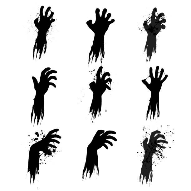 bildbanksillustrationer, clip art samt tecknat material och ikoner med zombie grunge händer silhuetter - zombie