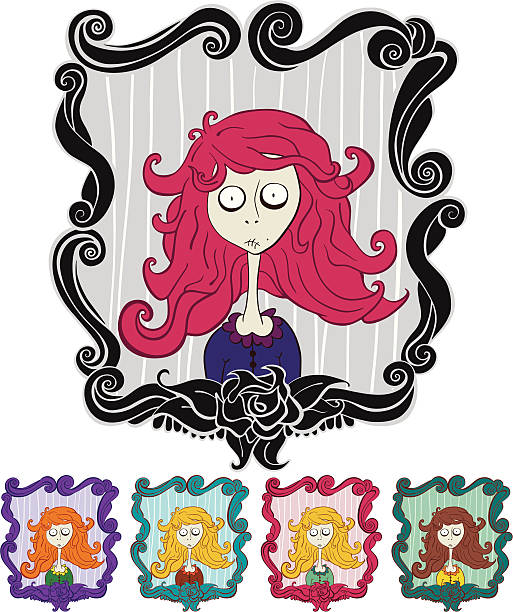 Royalty free staring into mirror clip art vector images for Mirror zombie girl