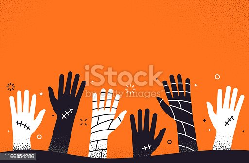 Zombie mummy scary horizontal stipple dots retro style Halloween human hand background.