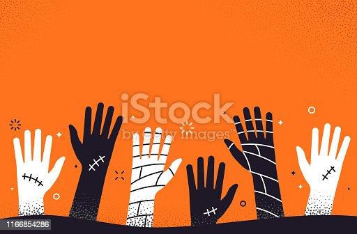istock Zombie Halloween Hands Background 1166854286