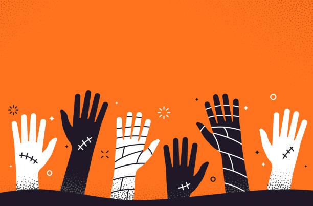 illustrazioni stock, clip art, cartoni animati e icone di tendenza di sfondo mani di halloween zombie - halloween
