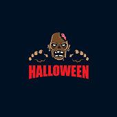 Zombie Halloween head vector symbol illustration