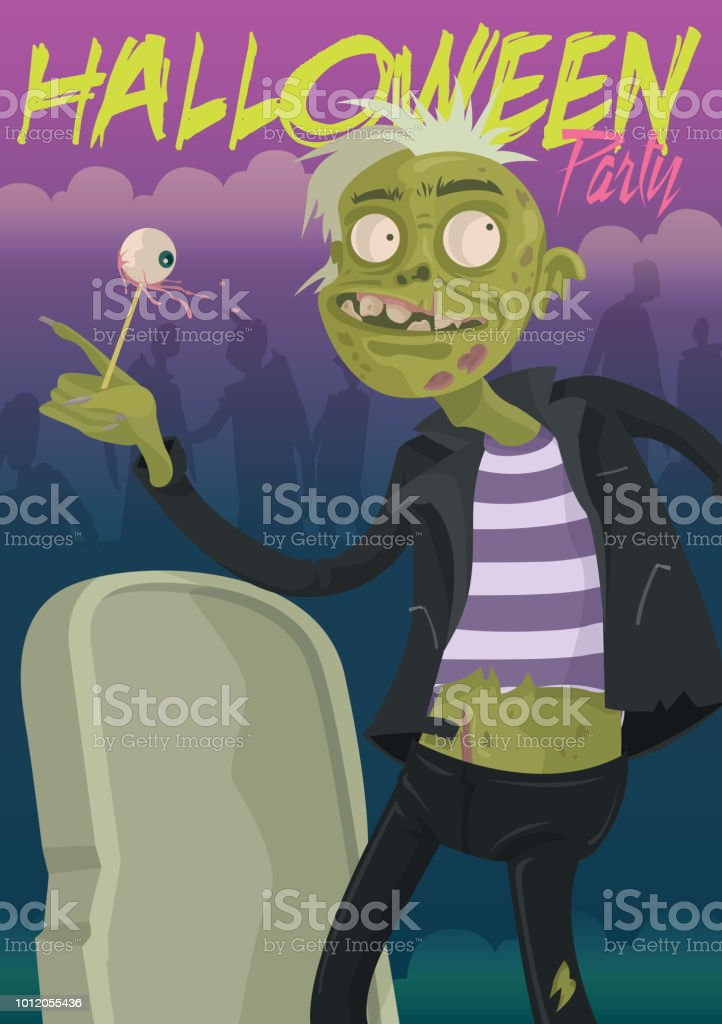 Zombie Halloween Party vector art illustration