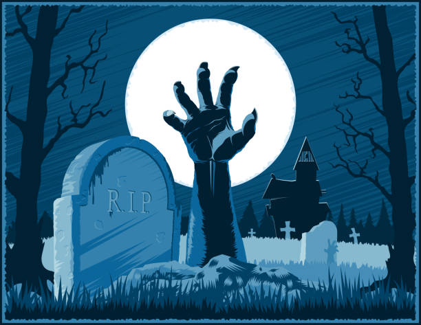 Zombie Hand Cemetery Halloween Vintage Background Horror Moon Poster Hand of zombie corpse with claws raised up from grave with gravestone on a cemetery with abandoned hut on Halloween holiday on a night background with Moon. Vector hand drawing graphic illustration. scary halloween scene silhouettes stock illustrations