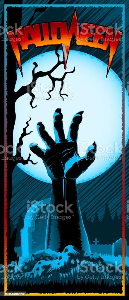 Ilustración De Cementerio De Mano Zombie Halloween Vintage