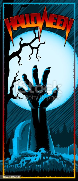 Hand of zombie raised up from grave on background with full Moon. Template design of invitation card, leaflet, banner, flyer for Halloween holiday from vector graphic illustration. Size 3.66x8.5 inch