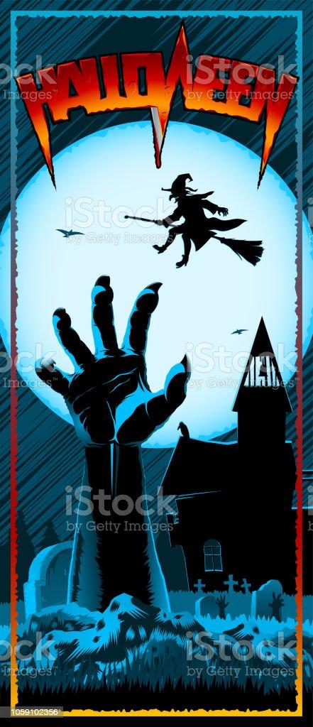 Zombie Hand Cemetery Halloween Vintage Print Leaflet Flyer