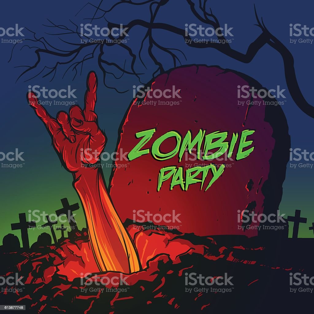 Zombie hand coming out from the grave vector art illustration