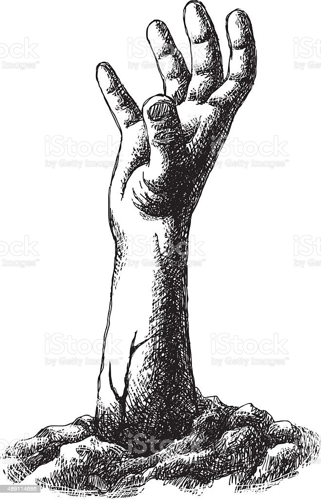 Zombie Hand Drawing vector art illustration