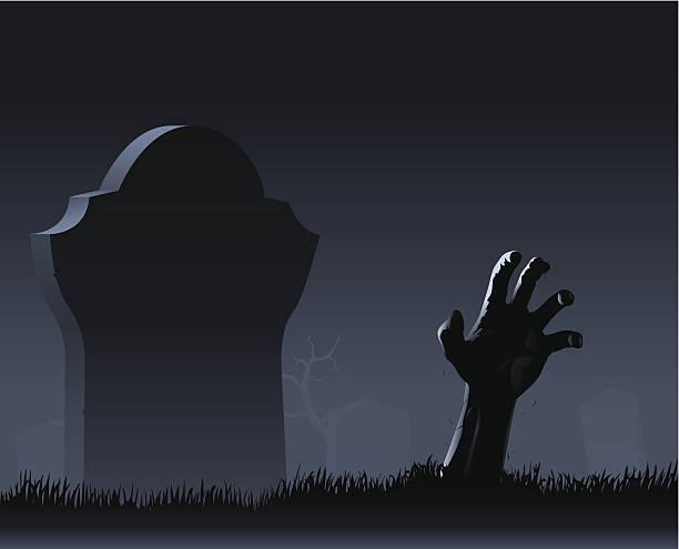 zombie hand & gravestone - tombstone stock illustrations, clip art, cartoons, & icons