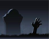 Zombie hand & gravestone