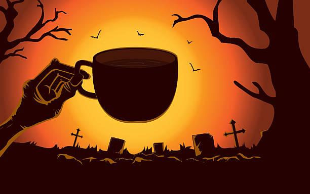 bildbanksillustrationer, clip art samt tecknat material och ikoner med zombie hand holding coffee cup at - coffe with death
