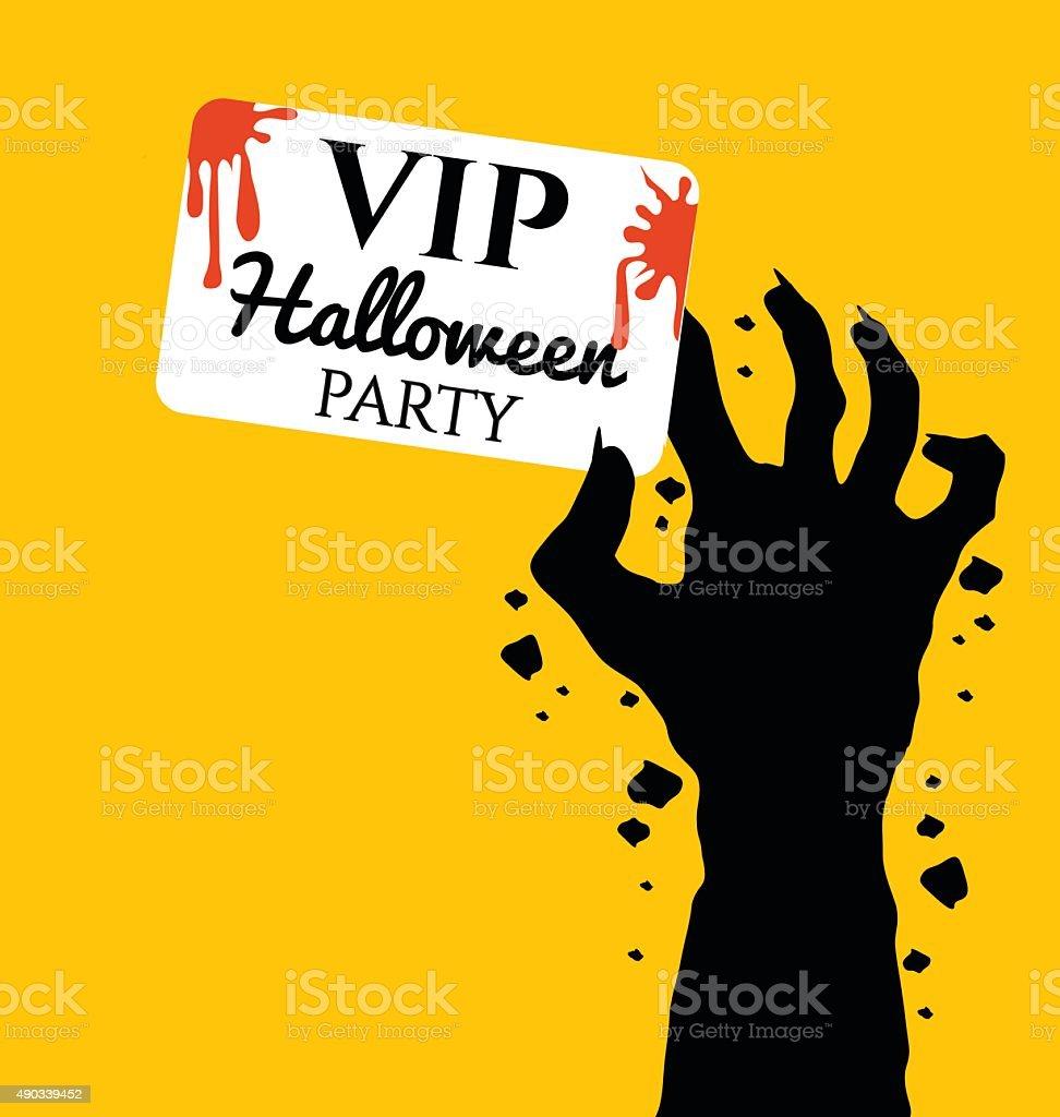 Ilustración De Zombie Mano Agarrando Invitación Tarjeta Vip