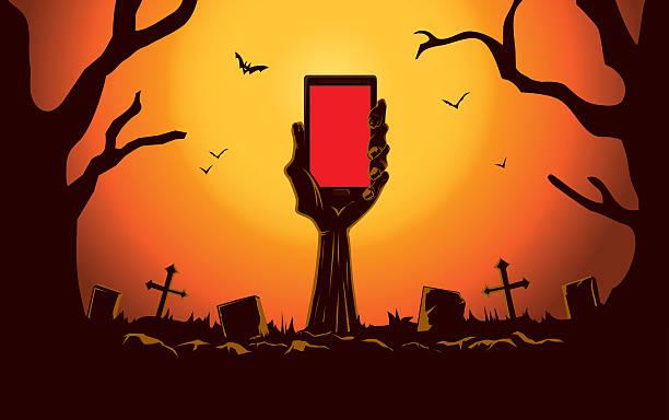 stockillustraties, clipart, cartoons en iconen met zombie hand holding smartphone - graf