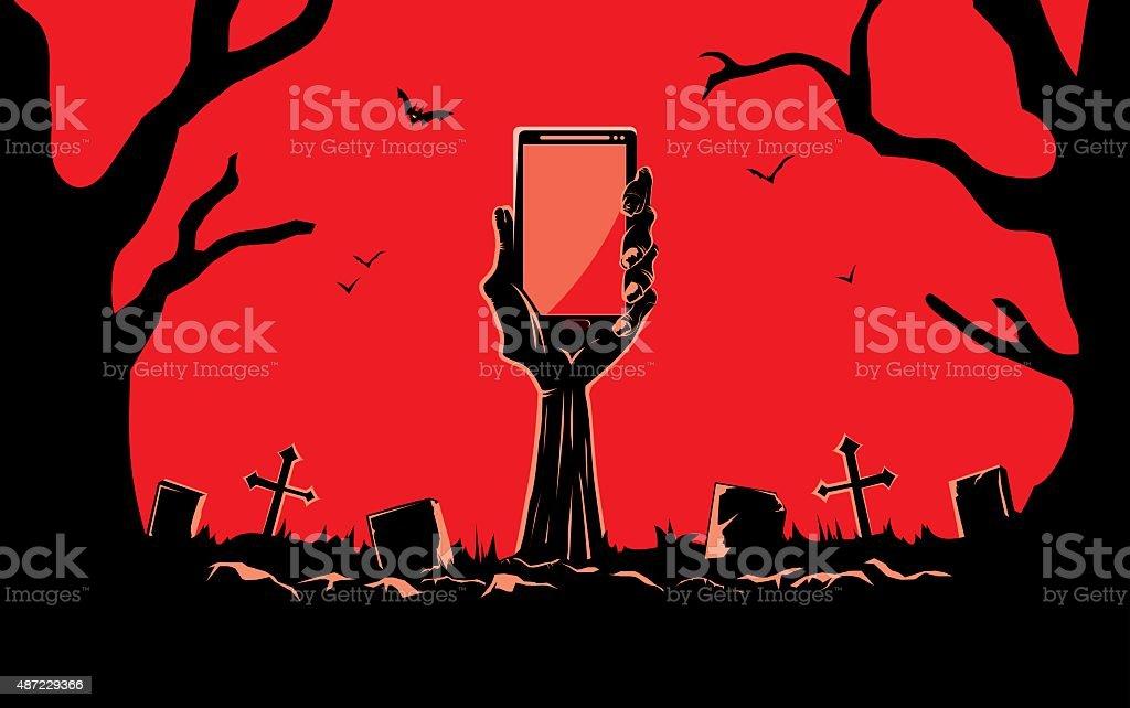Zombie hand holding smartphone vector art illustration