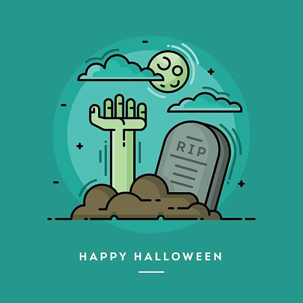 bildbanksillustrationer, clip art samt tecknat material och ikoner med zombie hand in cemetery, flat design thin line halloween banner - grav