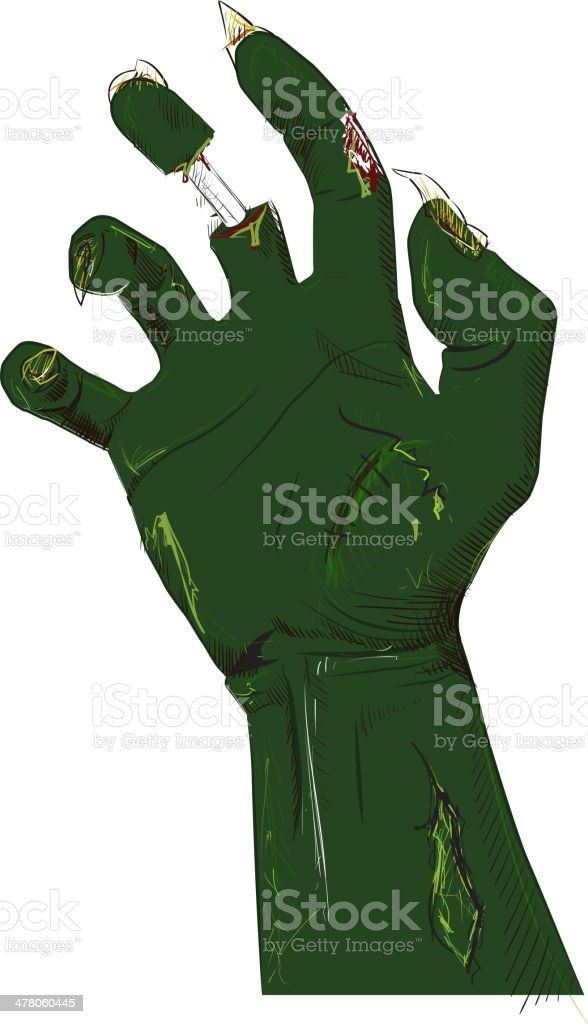 Zombie hand isolated on white royalty-free stock vector art