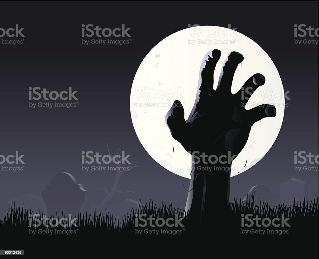 Zombie hand & moon - Royalty-free Bizarre stock vector