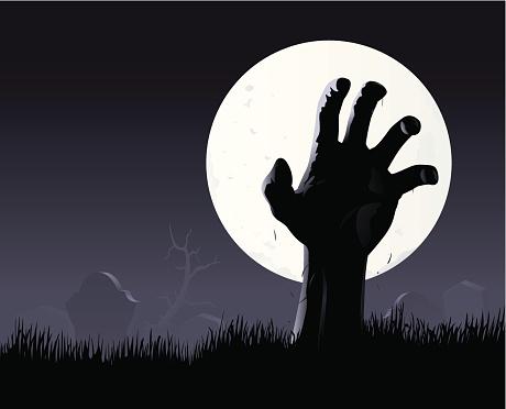 Zombie hand & moon