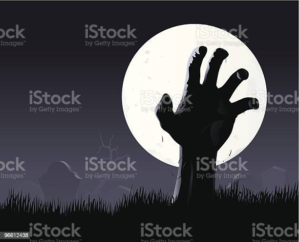 Zombie Hand Moon-vektorgrafik och fler bilder på Begravd