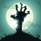 Zombie hand on full moon