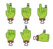 Severed zombie hand gesture set. Cool cartoon Halloween sticker pack. Vector clip art illustration.