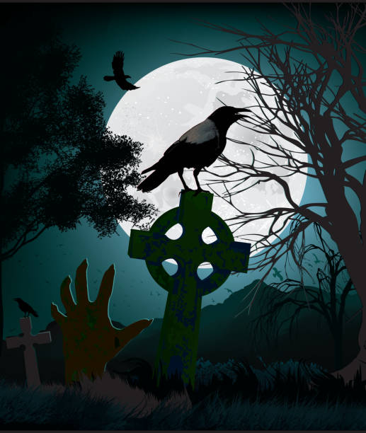 Zombie Hand Illustration of a Zombie Hand on a graveyard surrounded by crows. scary halloween scene silhouettes stock illustrations