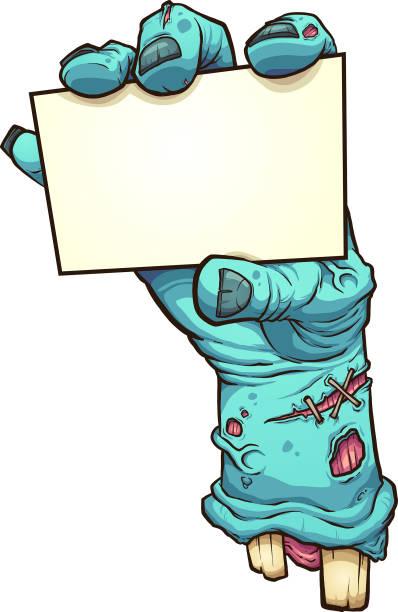 bildbanksillustrationer, clip art samt tecknat material och ikoner med zombie hand med tomt kort - zombie