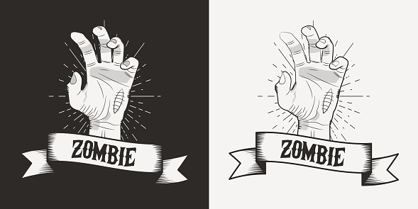 Zombie hands black and white mascot. Halloween vintage logo