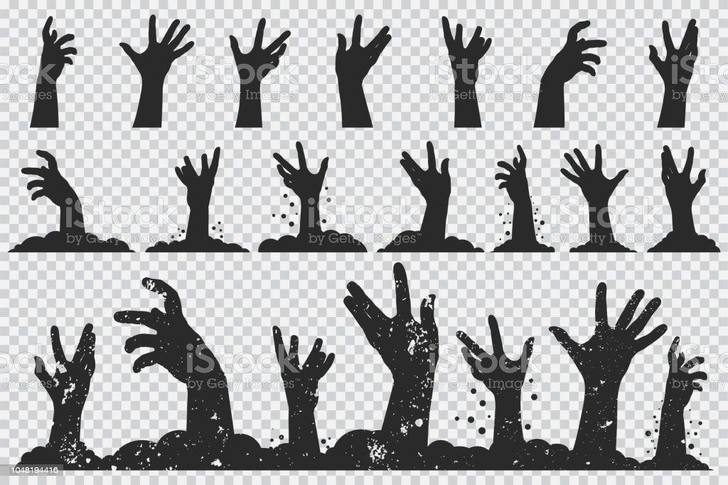 Zombie händer svart siluett. Vektor Halloween ikoner anger isolerade på en transparent bakgrund. - Royaltyfri Arm vektorgrafik