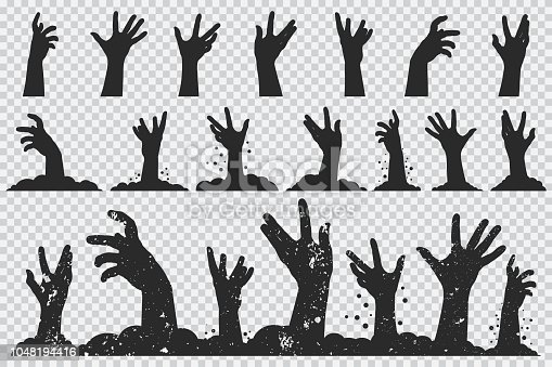Zombie hands vector icons set.