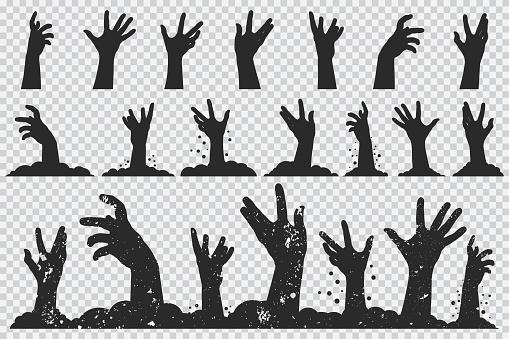 Zombie Händer Svart Siluett Vektor Halloween Ikoner Anger Isolerade På En Transparent Bakgrund-vektorgrafik och fler bilder på Arm