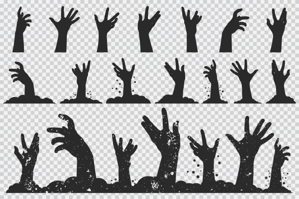 Zombie hands black silhouette. Vector Halloween icons set isolated on a transparent background. Zombie hands vector icons set. ghost icon stock illustrations