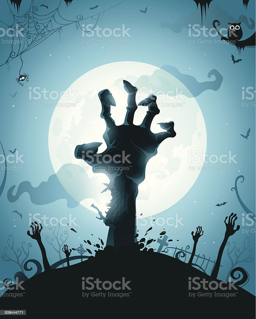 Zombie hands on full moon vector art illustration