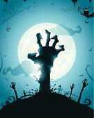Zombie hands on full moon