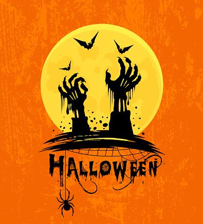 Zombie Hands Poster. Halloween Night.