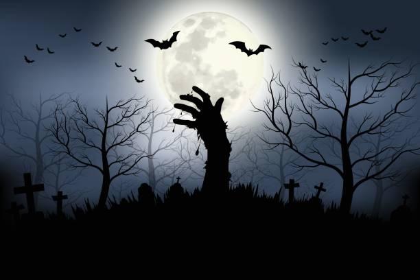 illustrazioni stock, clip art, cartoni animati e icone di tendenza di mani zombie che si alzano nella buia notte di halloween. - halloween