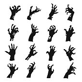 Zombie hands silhouette set, black creepy symbol. Frightening creature scary hands. Vector line art illustration on white background