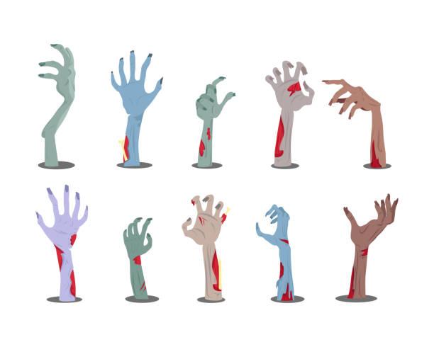 bildbanksillustrationer, clip art samt tecknat material och ikoner med zombie händer sticker ut från ground vector - zombie