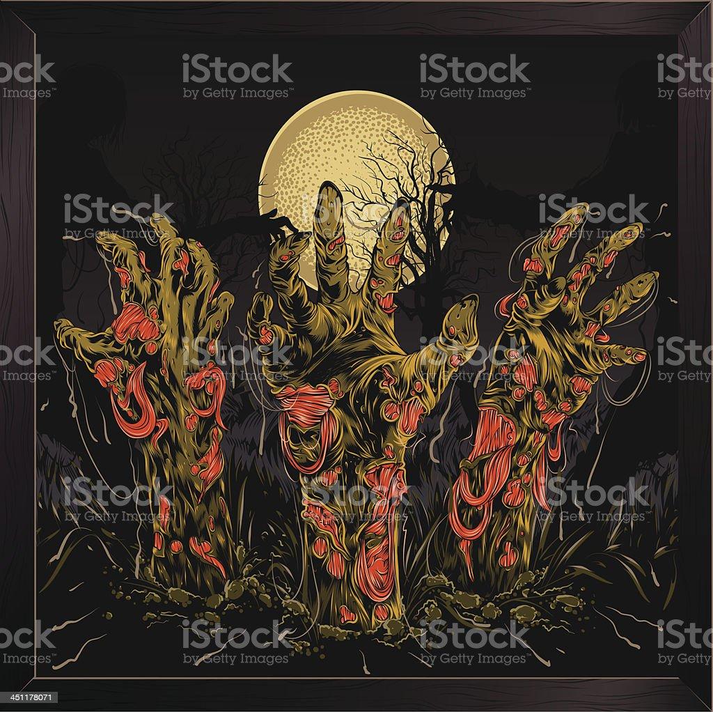 Zombie hands royalty-free stock vector art