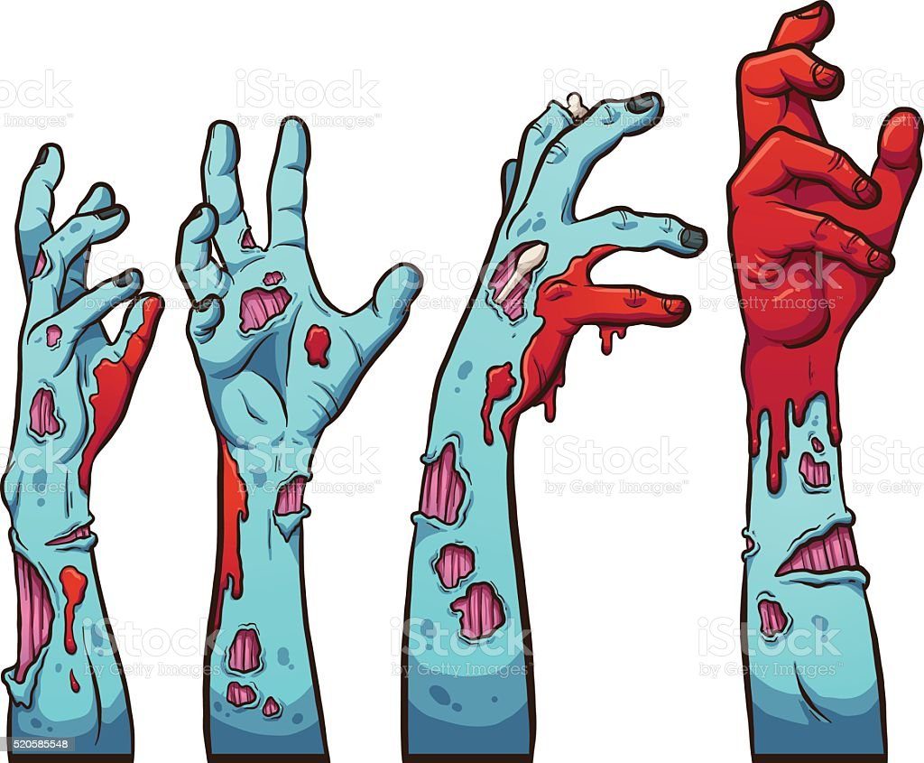 Zombie hands vector art illustration