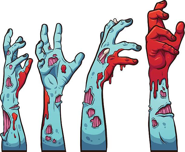 bildbanksillustrationer, clip art samt tecknat material och ikoner med zombie hands - zombie