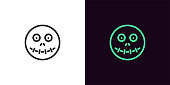 Zombie head in outline style. Vector illustration icon of cartoon Zombie face with sewn mouth in black and green color. Isolated graphic element for decoration of Halloween holiday