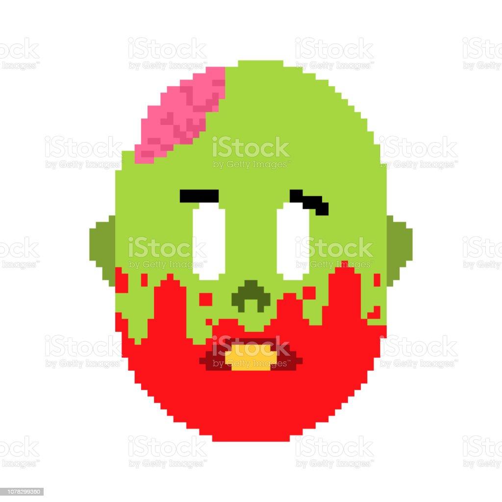 ゾンビ頭ピクセル アート。緑の死者と 8 ビットの頭蓋骨内の脳の顔。ビデオ ゲーム古い学校デジタル グラフィックス ベクターアートイラスト