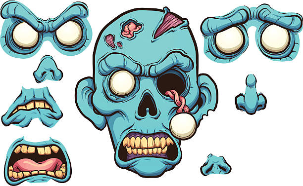 zombie head - cartoon monster stock-grafiken, -clipart, -cartoons und -symbole